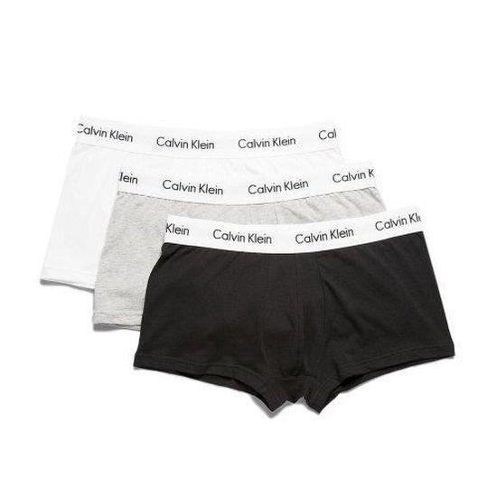 CALVIN KLEIN Lot de 3 slips taille basse en coton stretch pour hommes CK Noir-Blanc-Gris