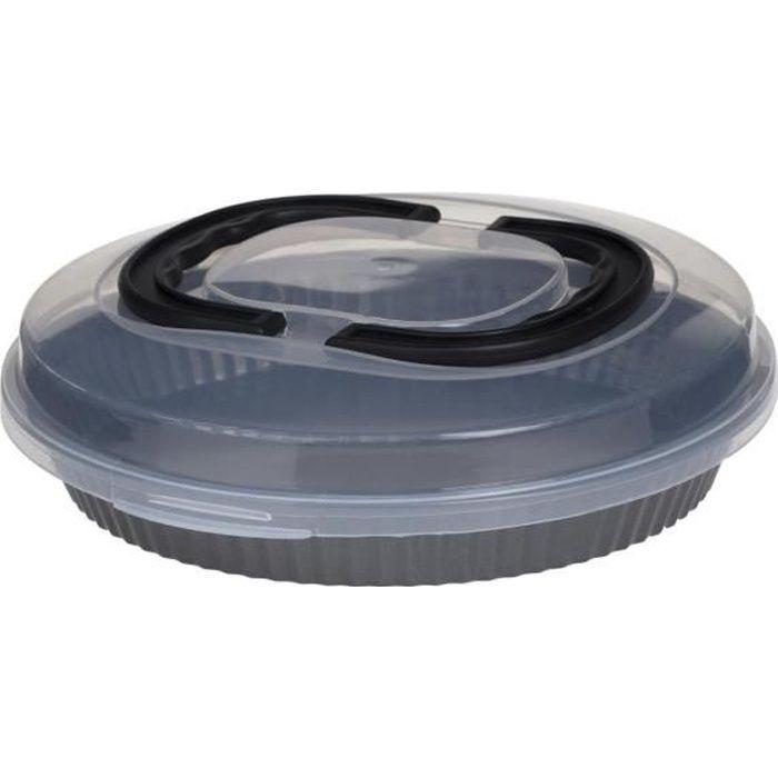 Secret de Gourmet - Moule à Tarte 3 en 1 avec couvercle : Cuire, conserver et transporter capacité 1.2 L et D 26 cm Gris Foncé