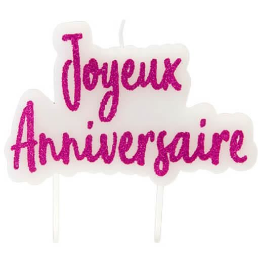 Décoration gâteau anniversaire avec 1 bougie blanche et rose fuchsia R/BGA1012