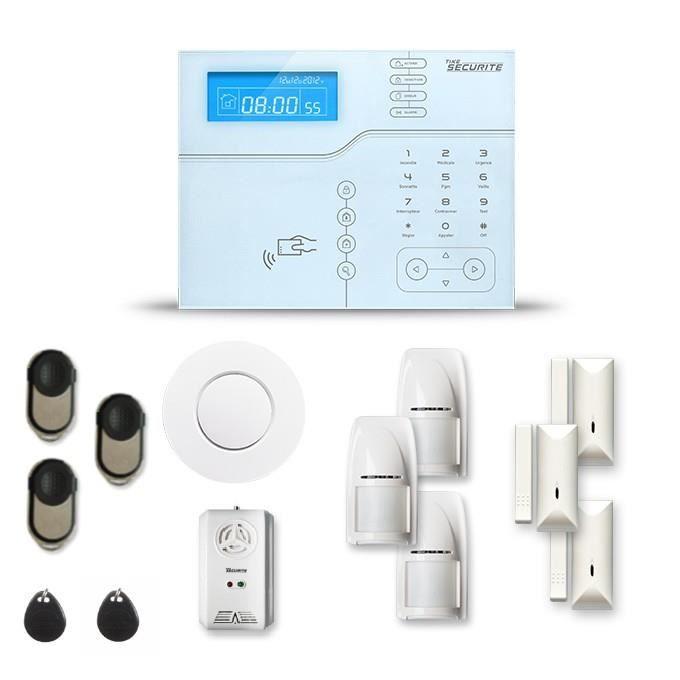 Alarme maison sans fil SHB V2 3 à 4 pièces mouvement + intrusion + détecteur de fumée + gaz - Avec GSM