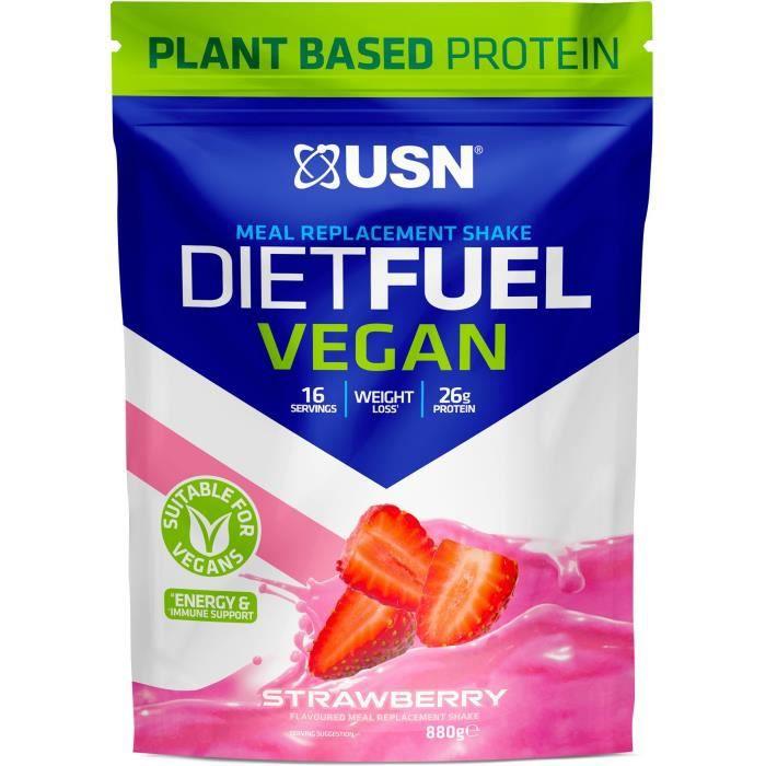 USN Protéines Diet Fuel Vegan - Fraise - 800 g