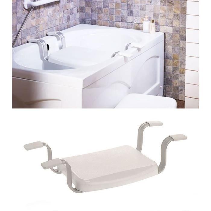 Siège de baignoire VITAEASY - Embouts antidérapants en caoutchouc - L 43 x l 34 cm - Blanc et chromé
