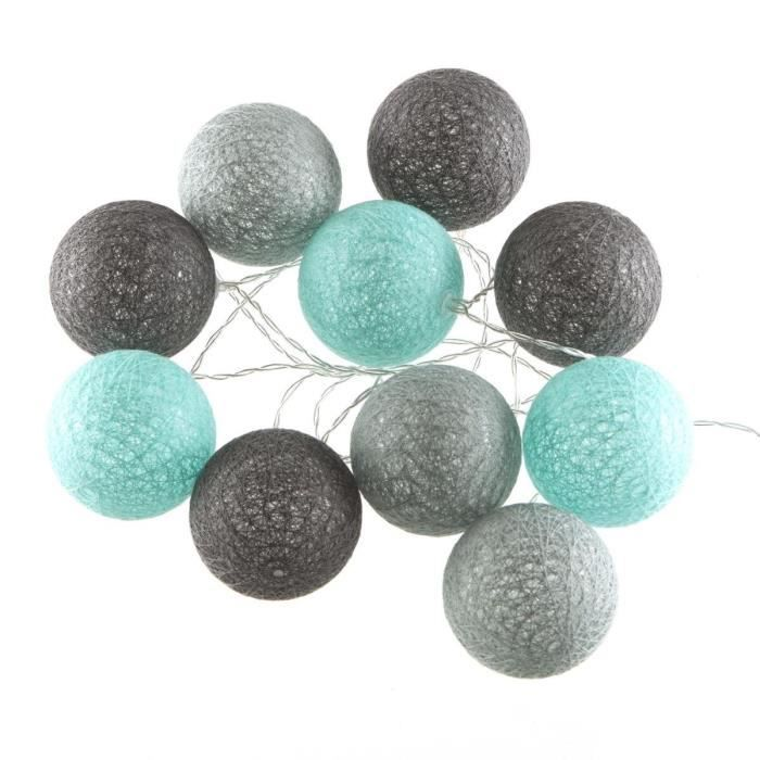 guirlande lumineuse 10 boules led coloris bleu gris achat vente guirlande lumineuse 10. Black Bedroom Furniture Sets. Home Design Ideas