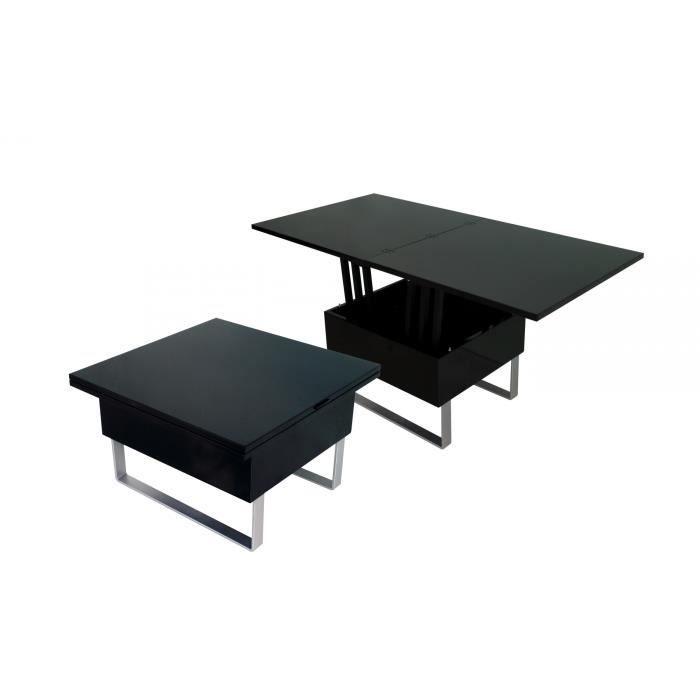 Table basse design laqu noir relevable extensible luxa - Table basse relevable cdiscount ...