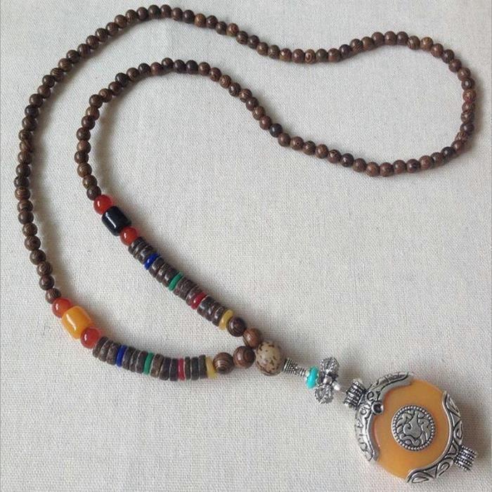 SAUTOIR ET COLLIER Collier pendentif style népalais rétro, long colli