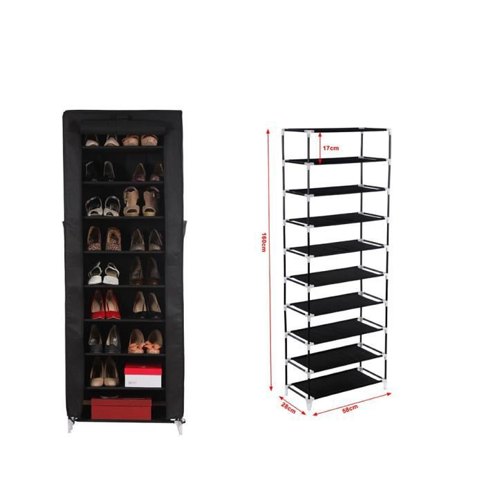armoire tag res chaussures 10 couches avec housse. Black Bedroom Furniture Sets. Home Design Ideas