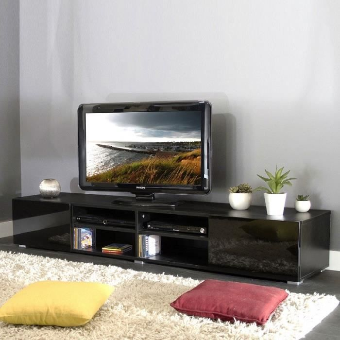 Meuble tv 4 niches 2 tiroirs glossy achat vente meuble - Meuble tv 4 niches ...