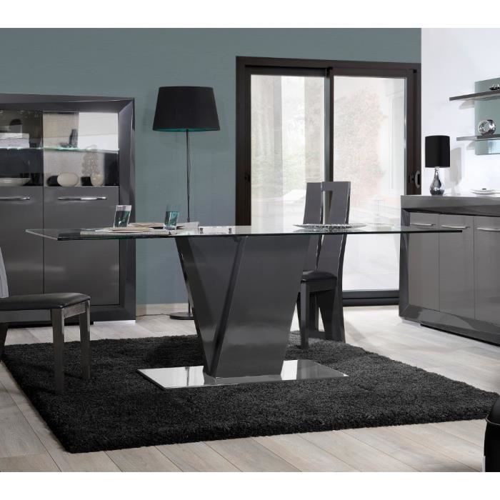 Table de salle manger design brooklyn coloris gris taupe laqu l 200 x p - Salle a manger design but ...