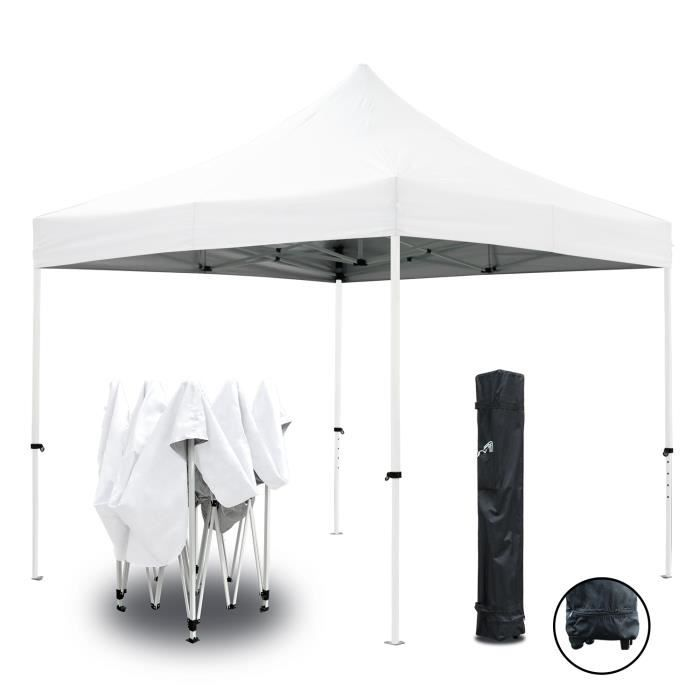 TONNELLE - BARNUM Tente pliante blanche 3x3m ECO Tube 25mm en acier