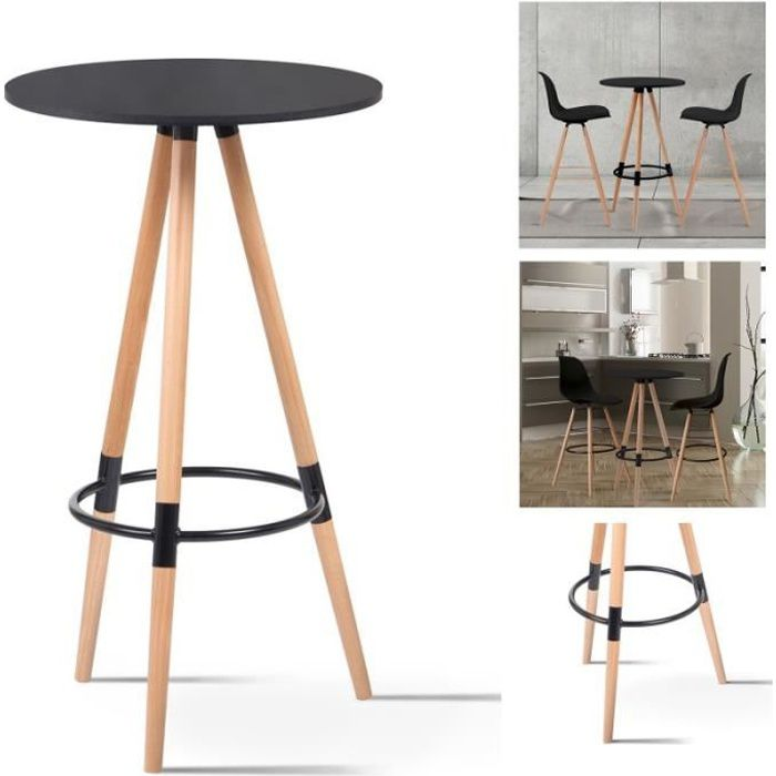 MANGE-DEBOUT Table de bar ronde scandinave Sara noire