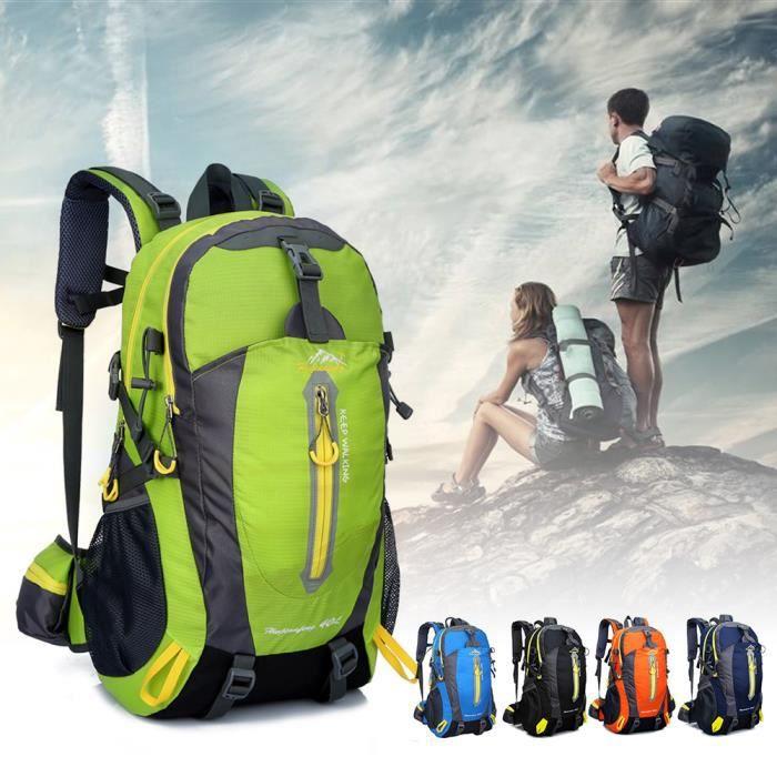 40L Sac à dos portable étanche vert Camping Randonnée Voyage Trekking Escalade pour Hommes Femmes