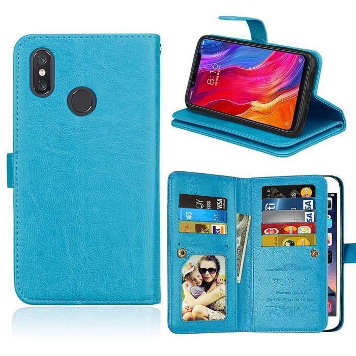 COQUE - BUMPER Etui Housse Xiaomi Mi 8,Bleu Cuir Premium Porte-ca