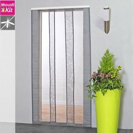 MOUSTIQUAIRE OUVERTURE Moustiquaire rideau pour porte L100 x H230 cm gris