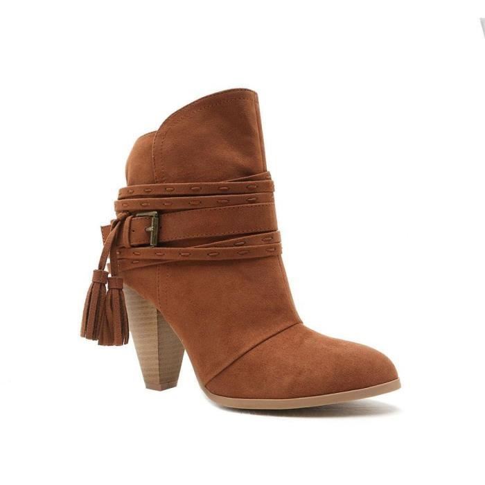 Raelynn Tasssel Strip Faux Suede Ankle Boot Heeled Shoe Bootie Q7IUA Taille-41