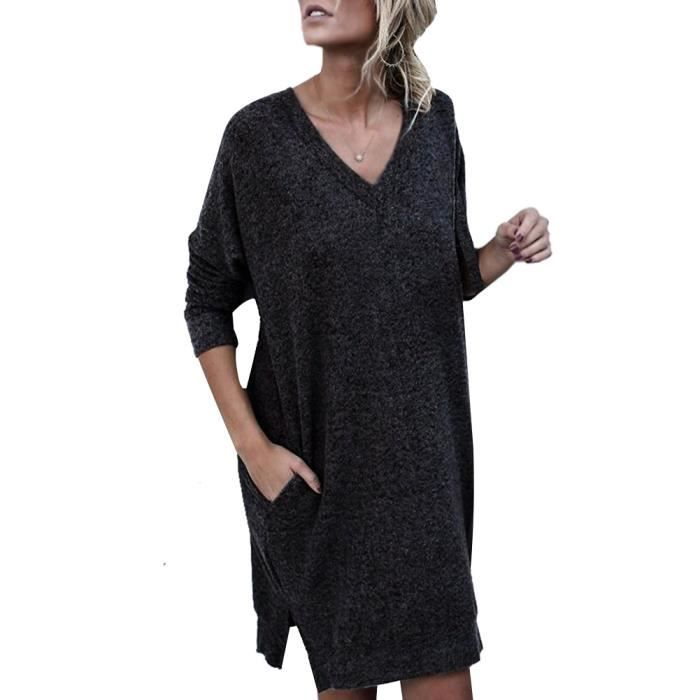 Automne Solide Col Robe Hiver V Manche Femme Pull Casual UpwqUvxIrn