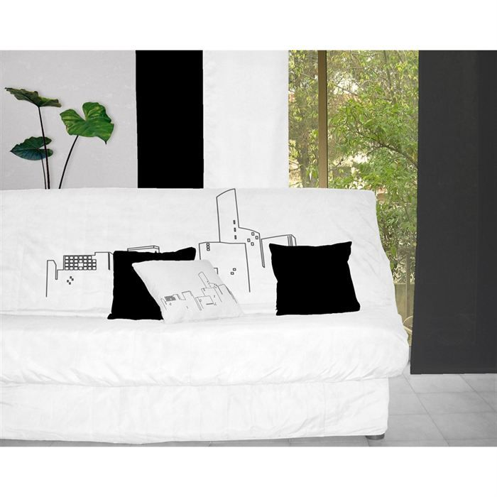 housse clic clac los angeles blanc noir achat vente housse de canap cdiscount. Black Bedroom Furniture Sets. Home Design Ideas