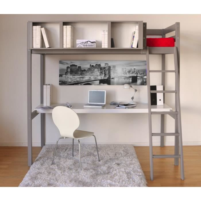 lit mezzanine giacomo 90x190cm bureau et rangements int gr s epicea gris achat vente. Black Bedroom Furniture Sets. Home Design Ideas