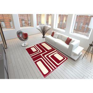 Tapis salon DESIGN carrés beige marron taupe DEBONSOL ...