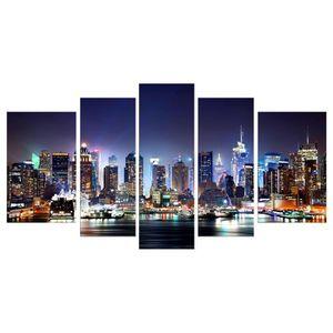 TABLEAU - TOILE CITY BY NIGHT Tableau Multi Panneaux  urbain 110x6