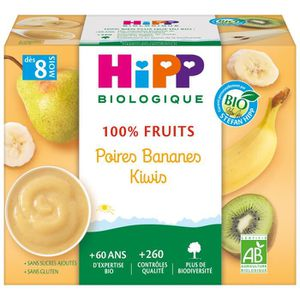DESSERT FRUITS BÉBÉ HIPP BIOLOGIQUE 100% fruits Compote Poire banane k