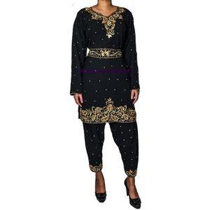 ROBE Tenue indienne Robe bollywood salwar kameez noir c