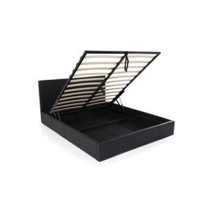 STRUCTURE DE LIT NOCHE Lit Coffre 160 x 200 en Simili Cuir Noir