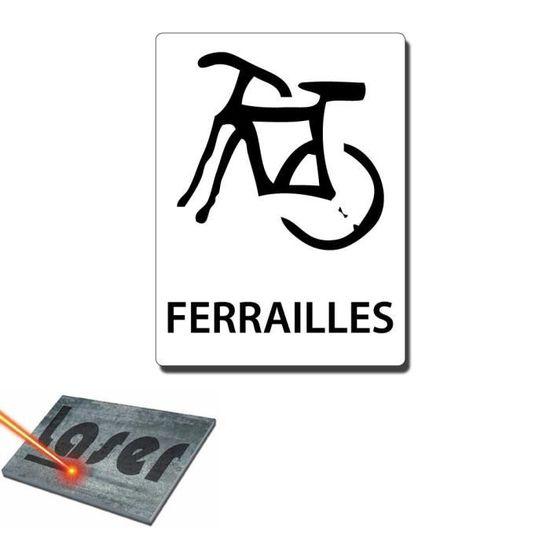"""Plaque gravée autocollante 20x15cm /""""Local vélo/"""" fond blanc"""