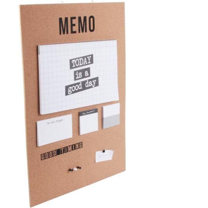 Mémos, rangements & supports muraux - Mémo liège à suspendre - Tableau de travail feuilles détachables avec punaises 60 cm Beige