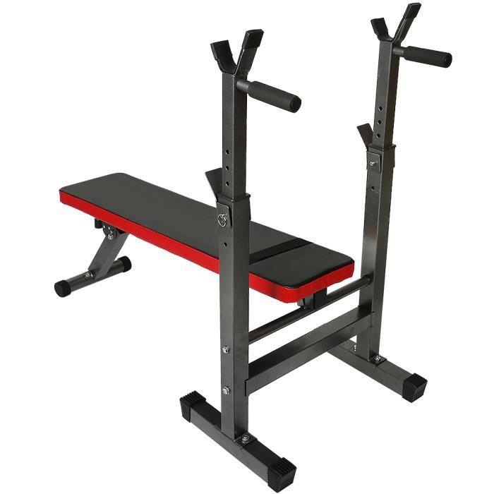 FIRNOSE Banc Musculation Pliable, Support de Barres Hauteur Réglable, Barbell Rack, Support Squat - Charge max.200kg (Rouge/Noir)