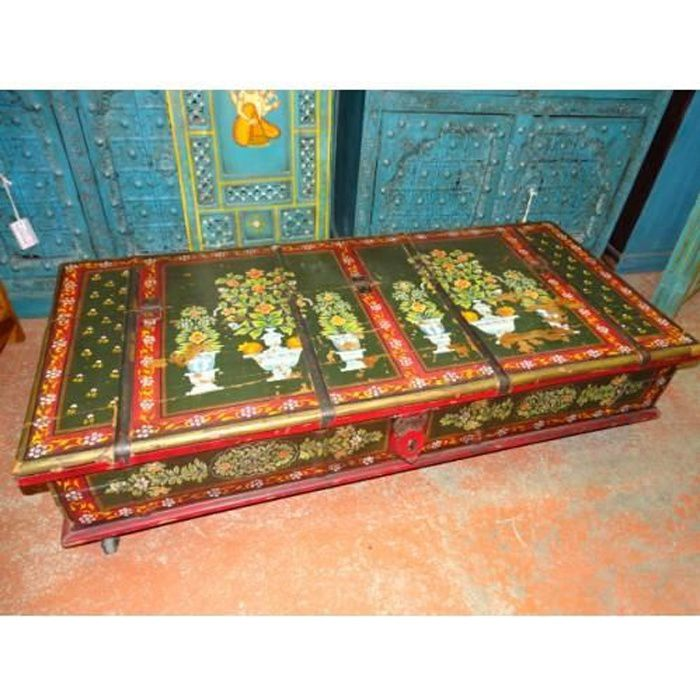 Coffre sur roulettes ou table basse indienne peinte à la main