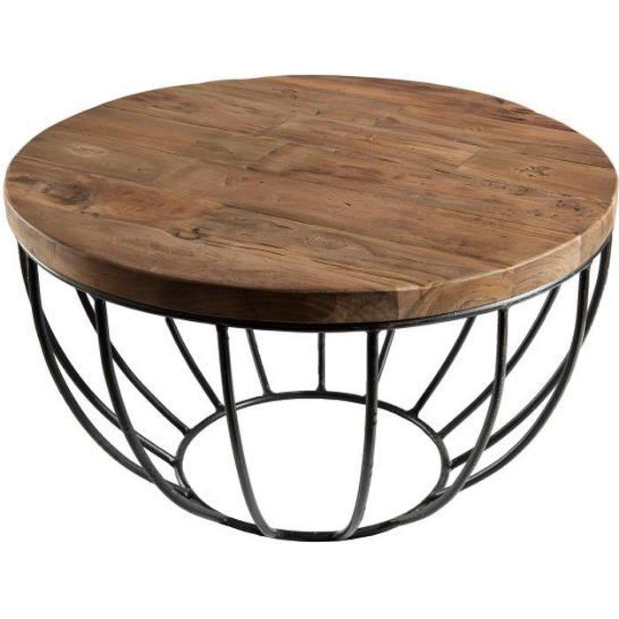 Table basse ronde - En bois teck et métal - Brun - Style industriel - Sur pieds - L 60 x l 60 x H 34,5 cm