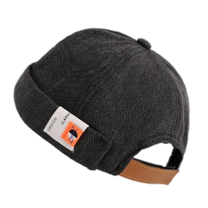 Bonnet Docker de couleur unie, casquette rétro, manchette roulée, étiquette sans bords, chapeau crâne Hip Hop [595E680]