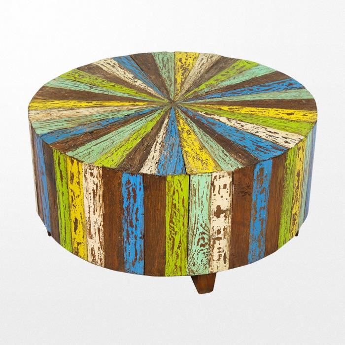 Table basse ronde en bois recycl&amp#2013265923