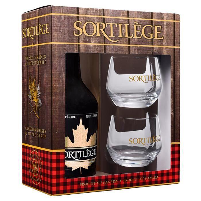 Coffret cadeau crème de whisky 750 ml / 17° + 2 verres gravés - Sortilège