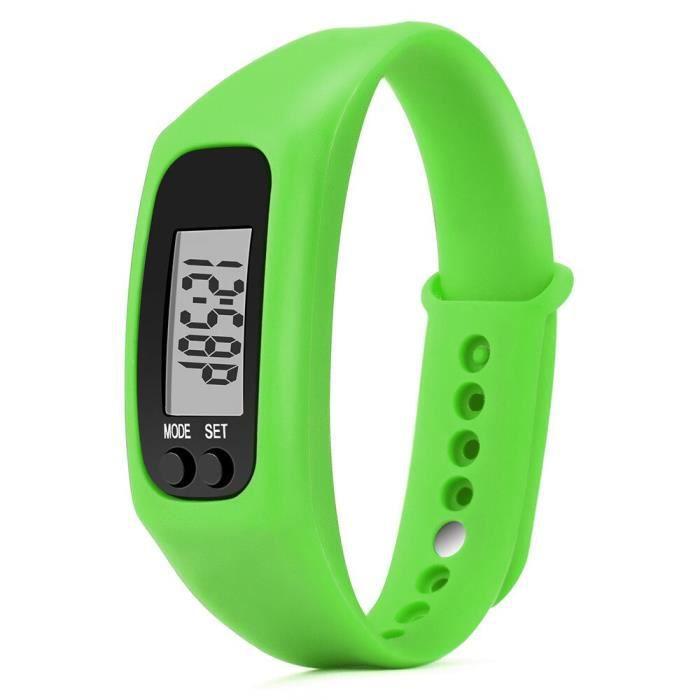Nouveau podomètre montre électronique Distance de marche compteur calories numérique course kilomètre - Modèle: green - HSJBQA09650
