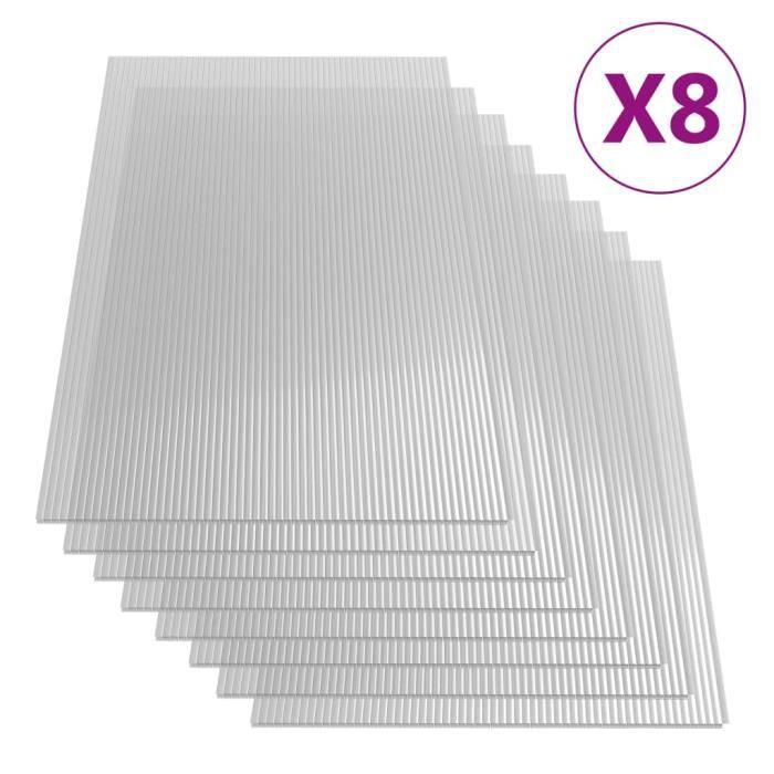 Lot de 8 Feuilles de polycarbonate 4 mm 121x60 cm Super *818201