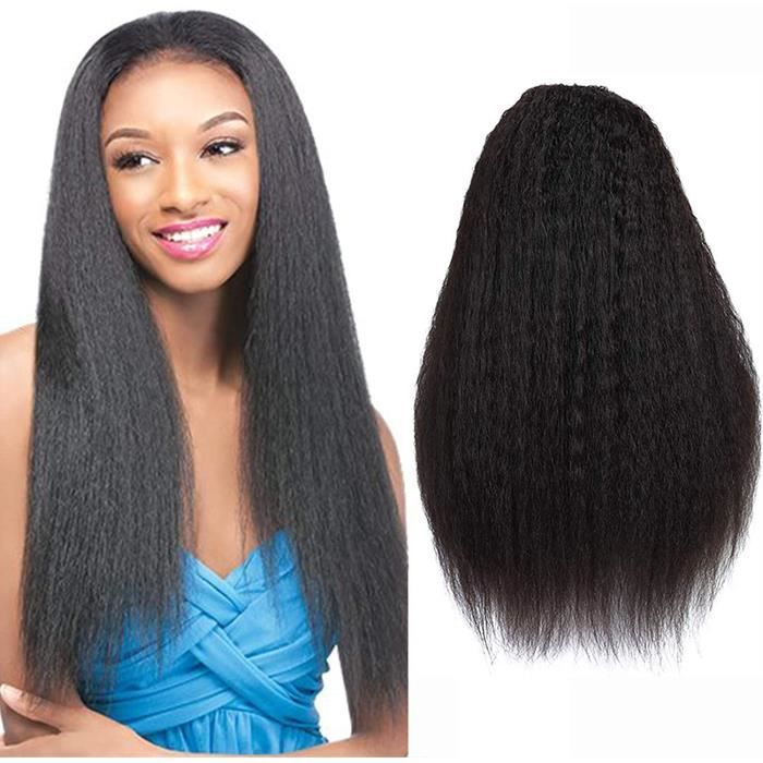 Kinky Hair Perruque Bresilienne Lace Frontal Tissage Bresilien Lisse Glueless Brazilian Remy Hair Human Hair Ear To Ear Lace Frontal