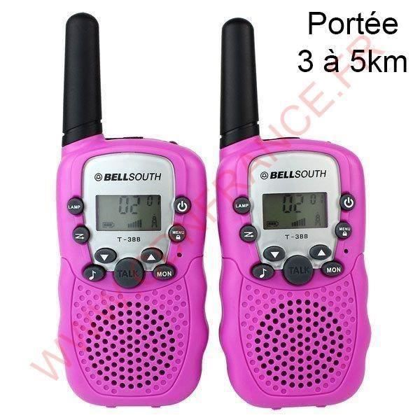 Talkie walkie 22 canaux push to talk écran LCD portée 3 à 5 km Rose a034