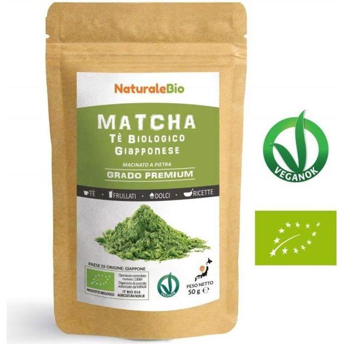 Thé Matcha Bio Japonais [ Premium Qualité ] 50 gr -Thé Vert Matcha en Poudre 100% Naturel -Matcha Green Tea