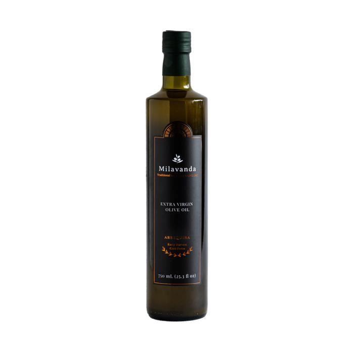Milavanda Arbequina Early Harvest Huile d'olive extra vierge, récolte précoce, pressée à froid, goût traditionnel de la baie d'Égée