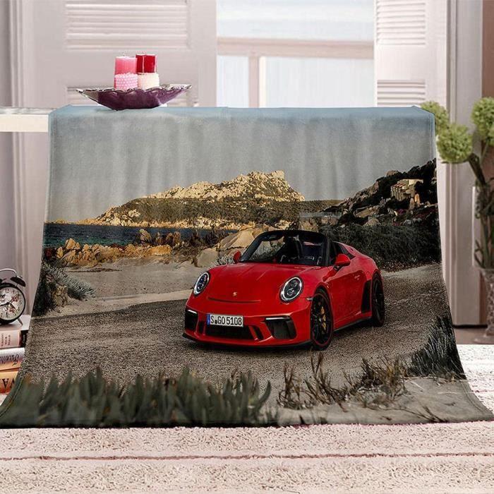 Couverture Polaire en Flanelle Voiture Rouge 3D Imprimée Couverture de lit Plaid Polaire pour Adultes 140x200cm[1810]