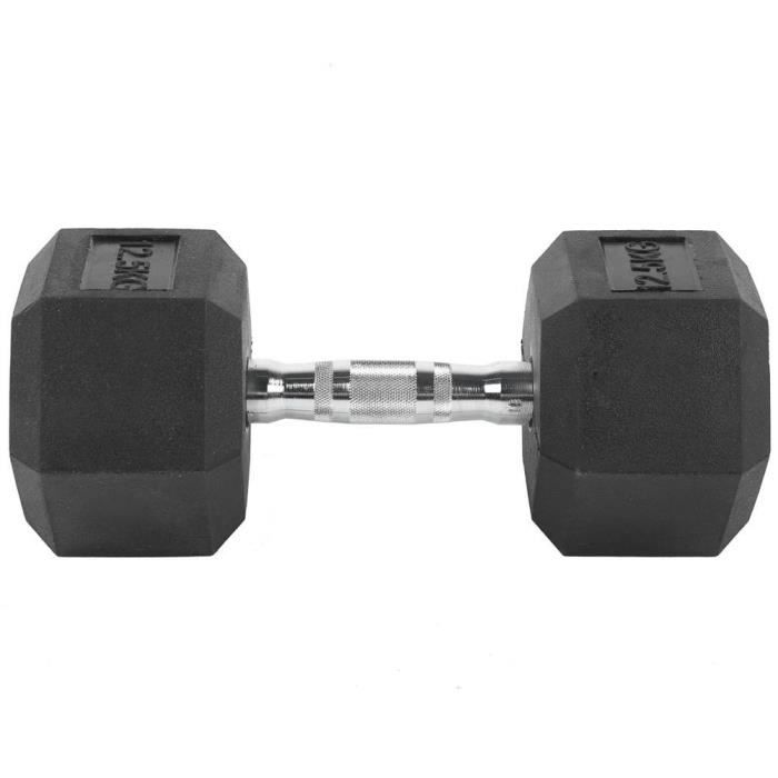 KAI Haltère de 12,5 kg, hexagone exercice haltère gymnase à domicile entraînement équipement de remise en forme