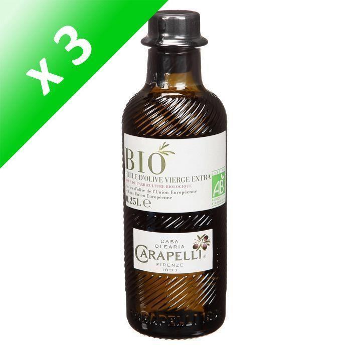 [LOT DE 3] Huile d'olive extra bio 25 cl Carapelli