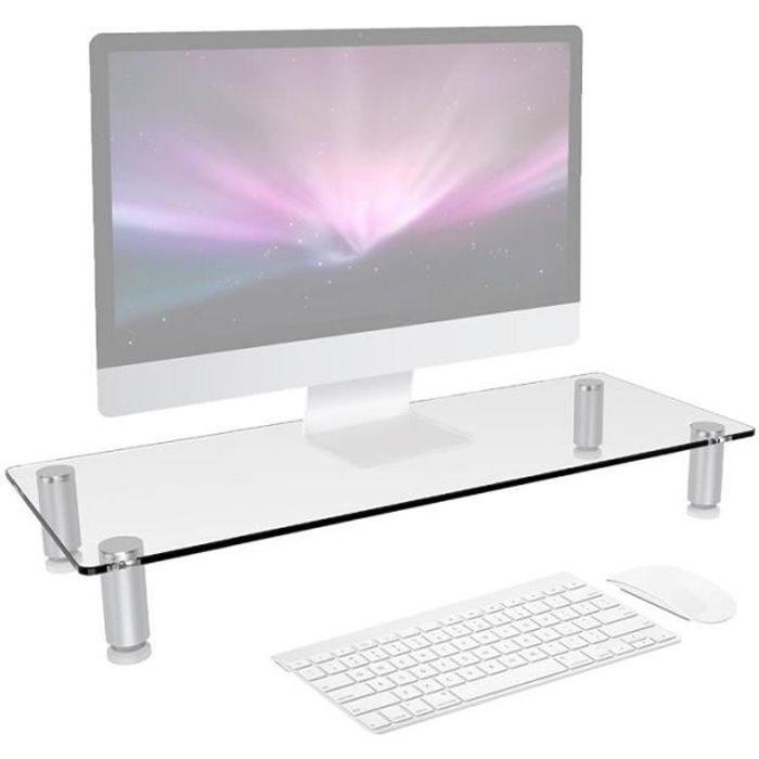 Duronic Dm052 1 Réhausseur d'écran Support en verre pour écran d'ordinateur ou ordinateur portable ou écran Tv (56 x 24 cm)