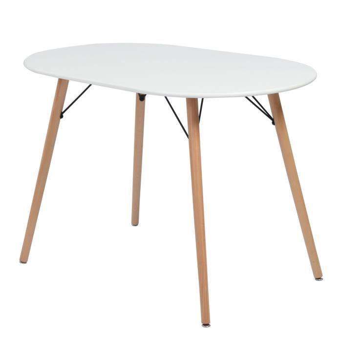 FURNISH1 Table Salle à Manger Ovale - Plateau en fibres de bois Blanc - Pieds en Bois de Hêtre - Style Scandinave - L 110 x P 70 x H