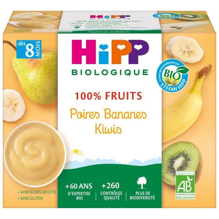 HIPP BIOLOGIQUE 100% fruits Compote Poire banane kiwi - 4x100 g - Dès 8 mois