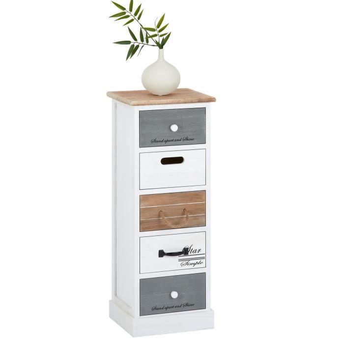 Chiffonnier SALVA commode 5 tiroirs en bois de paulownia style shabby chic vintage rustique blanc