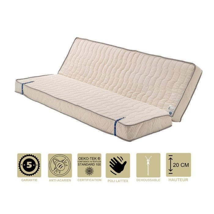Literie -Matelas Très Ferme Pour Clic Clac 130x190 x 20 cm - Dim Assise 60 cm - 7 zones de Confort - Déhoussable Housse Lavable - N