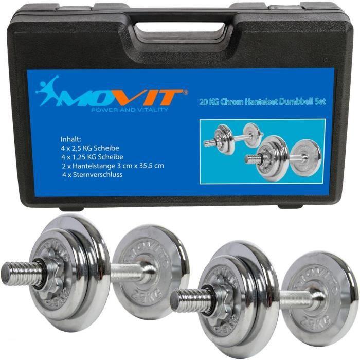 MOVIT Set d'haltères complet chromé 20 kg: 2x haltère avec vis de serrage en étoile et 8 disques d'haltère (4 x 2,5 kg + 4 x 1,25 kg