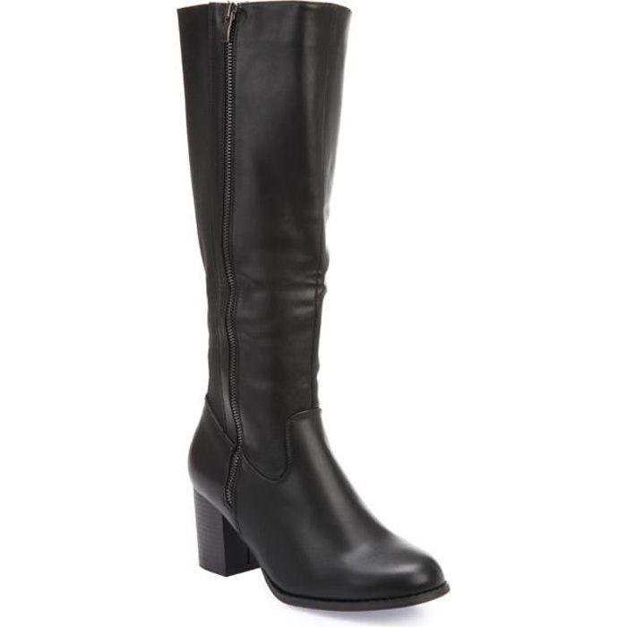 Bottes noires en simili cuir et tissu stretch